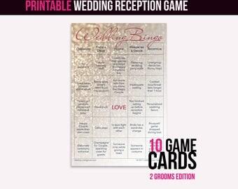 Wedding Bingo Instant Download (2 Grooms): The Wedding Reception Game (10 cards)