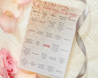 Wedding Bingo: 25-Card Printed Set with Gold Stickers for Marking Squares (Bride/Groom)