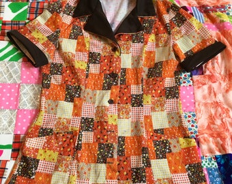 Vintage Patchwork Orange Brown Yellow Fall Colors Floral Checkered Short Sleeve Diner Shirt Union Made