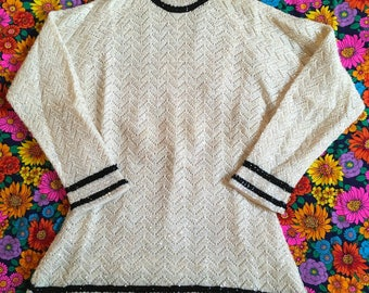 Vintage Cyn Les Wool Sequined Hand Beaded Ivory/Off White and Black Striped Lined Mock Turtleneck Sweater