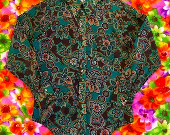 Vintage Psychedelic Green Orange Floral Marlboro Button Down Shirt 1970s