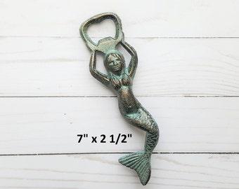 Mermaid Bottle Opener, Cast Iron Bottle Opener, Nautical Decor, Rustic Bottle Opener, Beach Wedding Gift, Groomsmen Gift, Gifts for Him