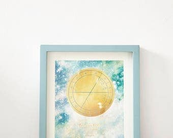Magic Sky Map Custom + *Framed*, Zodiac Sky Map, Planetary Positions,  Natal Star Chart, 10% of Proceeds to International Refugee Trust