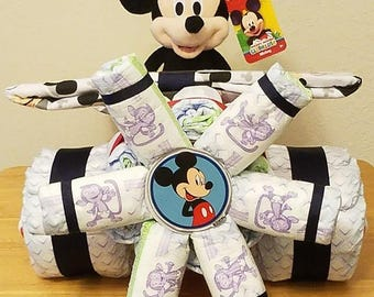 Airplane Diaper Cake with Mickey, Minnie, Little Mermaid, Lion King, Pooh, Hello Kitty, Monkey or Elephant Design, Baby Shower Centerpiece