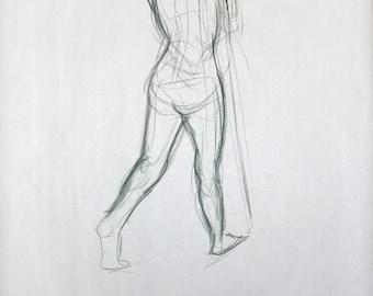 "Figure Drawing - Female Walking Away 18""x24"""