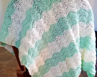 Green and cream baby blanket
