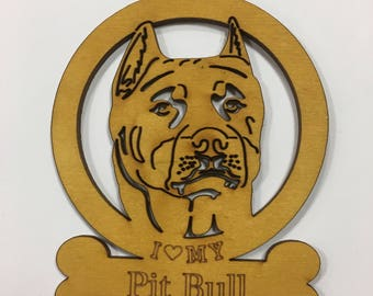 Pit Bull (cropped) Dog Ornament