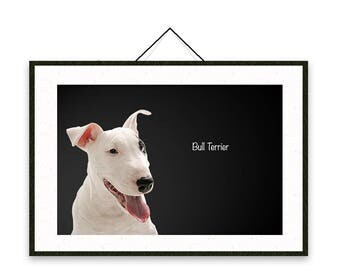 Bull Terrier - Dog breed poster, wall sticker, nursery decor, wall print, nursery print, shabby print   Tropparoba - 100% made in Italy