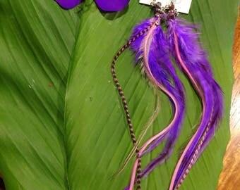 Purple Goddess Feather Earrings