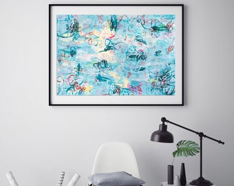 Original Abstract Painting Wall Art Modern Art Blue Turquoise Painting Contemporary Home Decor Acrylic Mixed Media