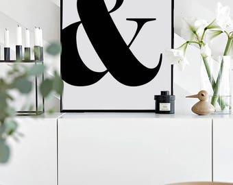 Ampersand Print, &, Scandinavian Art Print, Typography Print, Digital Print, Office Decor, Wall Art, Minimalist Print,Black and White, 50x70