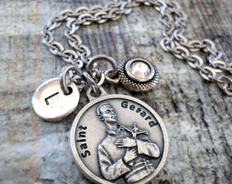 St. Gerard Fertility Prayer, Expectant Mothers, Personalized Necklace, Swarovski Birthstone Crystal, Monogram Initial, All Sizes
