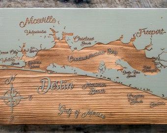 Destin, Florida Whimsical - Wood Burned Map