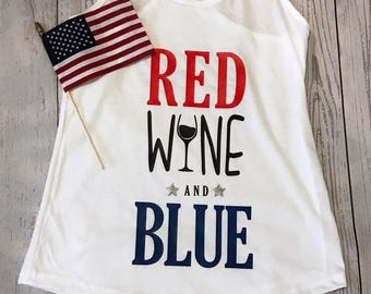 Red, wine and blue Tank top
