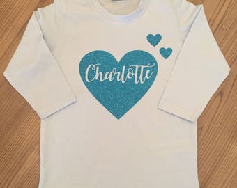 Childs/Kids Personalised Heart & Name Long Sleeved T-Shirt