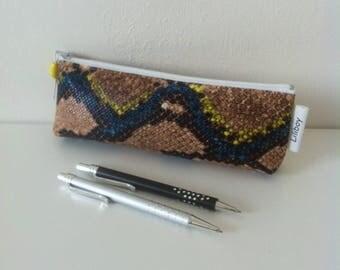 """Trousse à crayons ou pour cigarette électronique """"Serpent multicolore"""""""