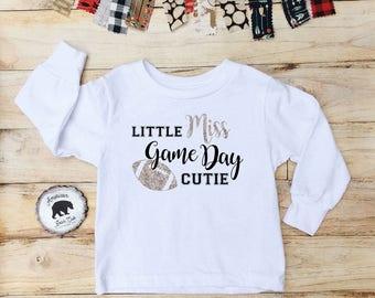 Little miss game day cutie, football shirt, football toddler shirt, toddler football shirt, little miss, toddler shirt, toddler football