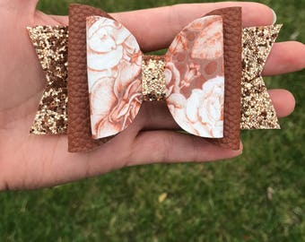 Brown floral glitter bow