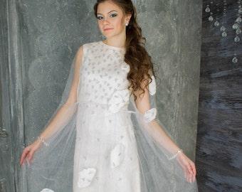 felted dress, felted women dress, wedding dress, 2in1 dress, white dress