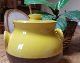 MARKDOWN! Vintage studio pottery tureen, yellow and brown tureen, small ceramic tureen, small tureen with lid, colorful tureen