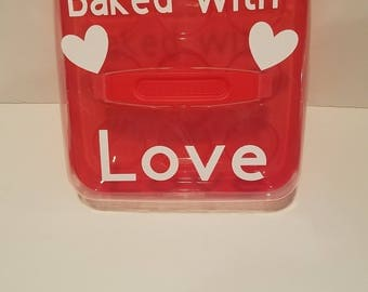 Valentine Cupcake Carrier, Baked with Love, Cupcake Carrier, Baked Good Carrier