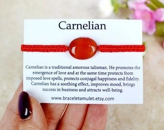 Carnelian jewelry Birthday gemstone bracelet Energy bracelet Carnelian bracelet Red string Gemini jewelry Virgo jewelry gift for her