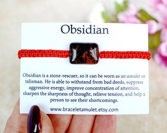 Red obsidian bracelet Red String Bracelet Men bracelet evil eye charm evil eye jewelry Gemstone Amulet Healing energy Obsidian jewelry