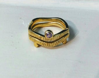 Purple Amethyst 14k GF Stacker Rings