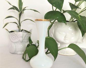 white opaline soliflore vase