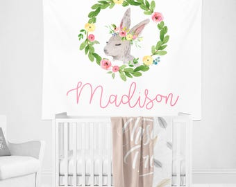 Personalized Bunny Nursery Wall Tapestry, Rabbit nursery Art, Woodland Baby Name Banner Gifts, Baby Girl Room Decor, Rabbit Fabric Banner
