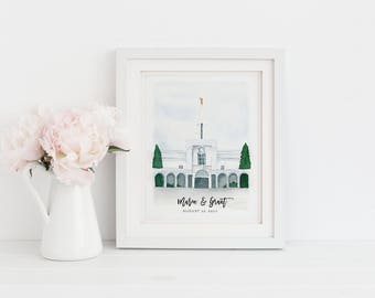 Bountiful, Utah LDS Temple Watercolor Painting | LDS Wedding Gift | LDS Baptism Gift | Customized Temple Painting