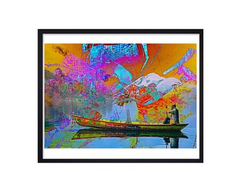 Canoeing Art Print - Canoeing Print - Canoeing On The Lake Painting - Canoeing Poster - Canoeing Wall Decor