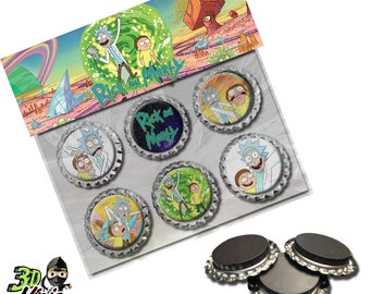 Rick and Morty Magnets | Bottle Cap Magnets | Party Favors | Gift
