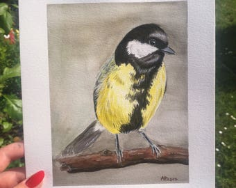 Great tit watercolor