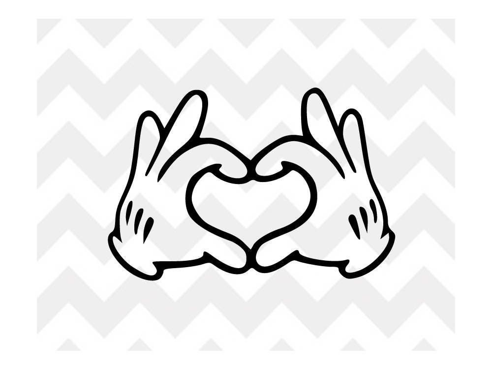 Mickey Heart Hands Svg Mickey Mouse Disney Svg Disney Svg