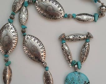 Turquoise Necklace / Turquoise Pendant / Southwest Art / Turquoise Jewelry / Cowboy Jewelry / Cowgirl Jewelry / Native Inspired / Magnet