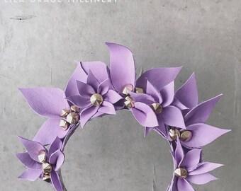 Lilac Leather Fascinator