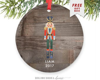 Personalized Nutcracker Ornament for Boy Baby's First Christmas 2017 Christmas Ornament Newborn Baby's 1st Christmas Gift for New Parents