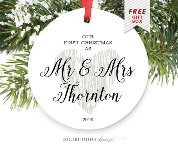 Wedding Gift Ornaments: Married Couple Ornament Personalized Wedding Gift For Bride