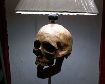 Skull Lamp, Skull Light, Skull Decor, Skull Gift, Paper Mache, Gift for Him, Man Cave, Table Lamp, Bedroom Lamp, Skull Art, Desk Lamp