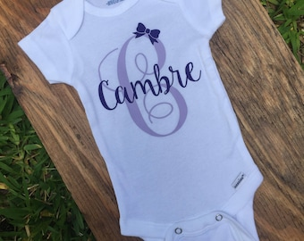 Personalized Onesie with Initial and Bow