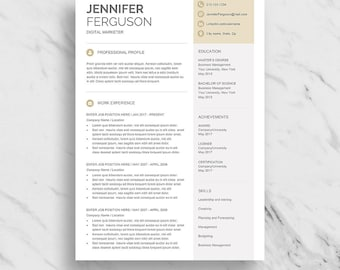 Modern Resume Template for Word | One Page Resume Design | Two Page Resume Download | Clean Resume Template | CV Template for Word