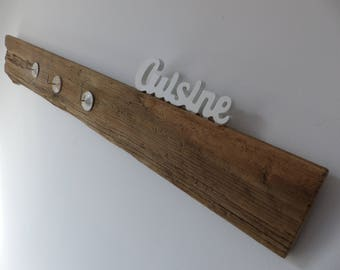 Driftwood with 3 hooks mention kitchen dishcloth