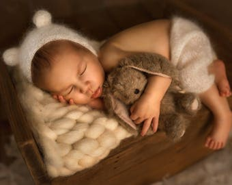 BabyFox Wooden Newborn Mini Bed Photo Prop Many Color Available