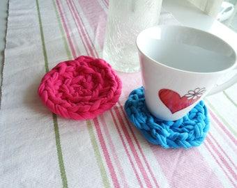 Pink Cute Crochet Coaster