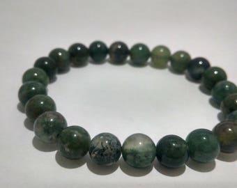 Green agate bracelet/ green bracelet/ healing agate bracelet