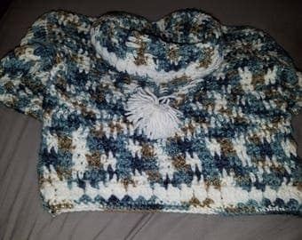 Handmade Crocheted Young Child's Hoodie, Blue, Brown, White, Ages 4-6