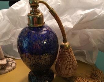 Empty Antique Blue Perfume Bottle