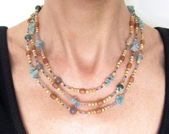 Necklace three rows of natural pearls JHELUM