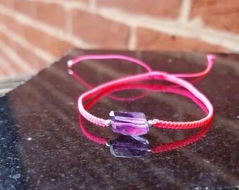 faceted amethyst macrame adjustable bracelet